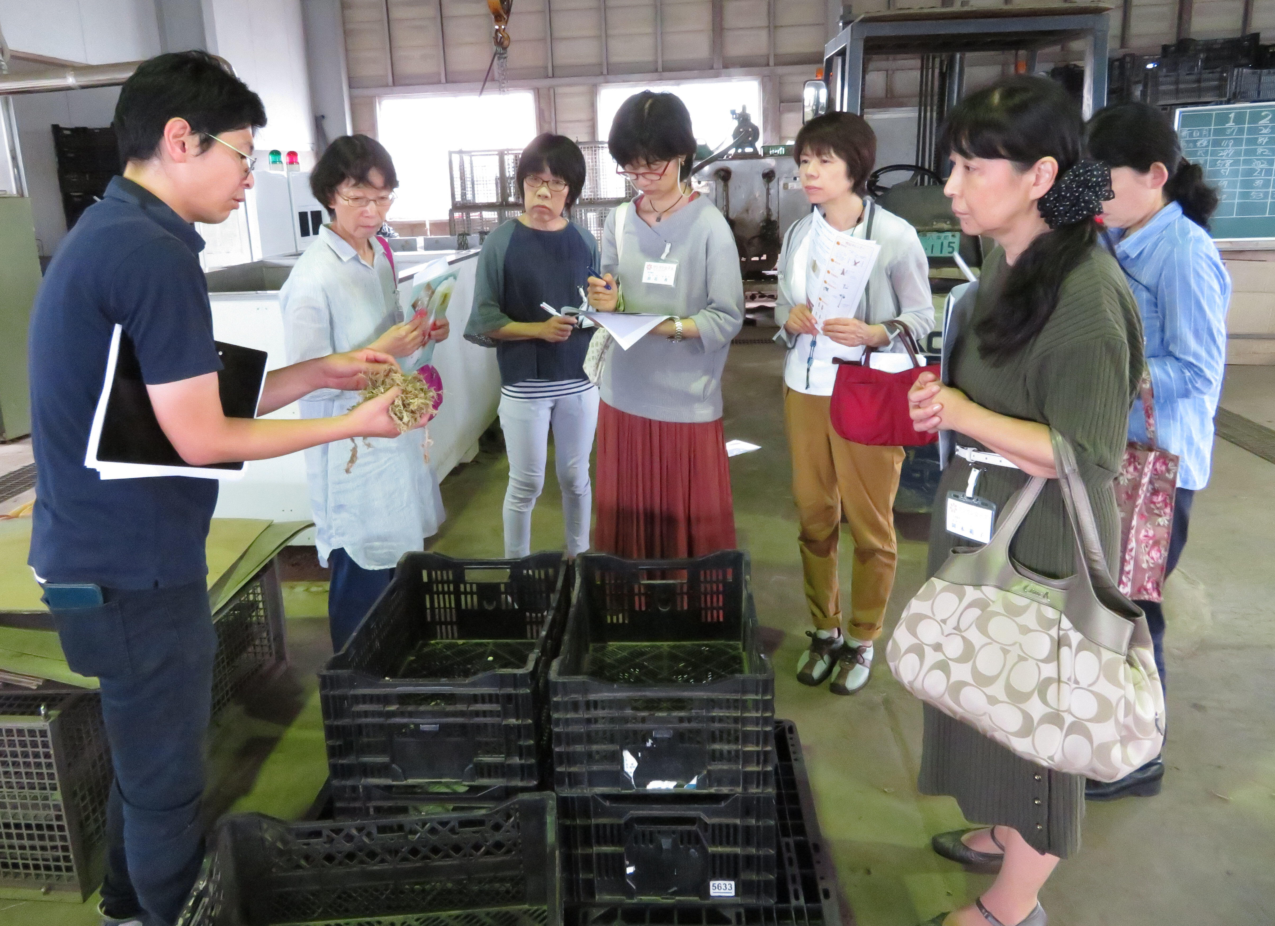 牡丹集出荷場で説明を受ける参加者.JPG
